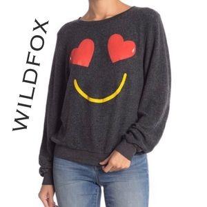Wildfox Smiling Hearts Emoji Sweatshirt